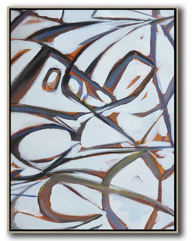 Oversized Art,Vertical Contemporary Art,Modern Art Abstract Painting,White,Purple,Grey.etc