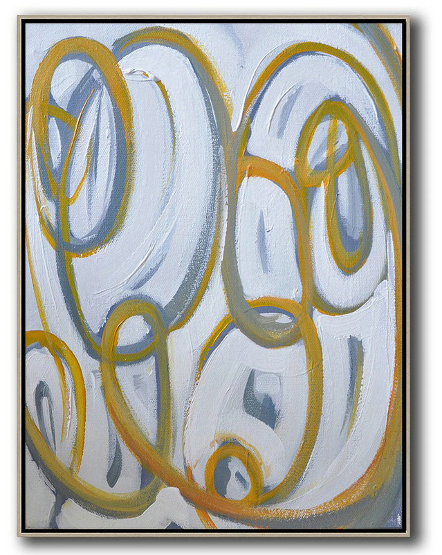 Modern Canvas Art,Vertical Contemporary Art,Original Modern Art,Large Wall Art Handmade,Yellow,White,Purple Grey.etc