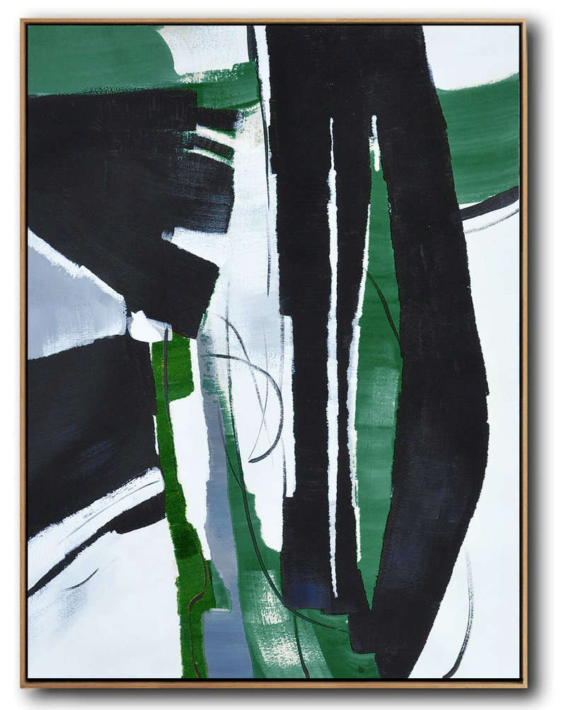 "Extra Large 72"" Acrylic Painting,Hand Painted Large Vertical Contemporary Painting On Canvas,Extra Large Canvas Painting,Black,Dark Green,White.etc - Click Image to Close"