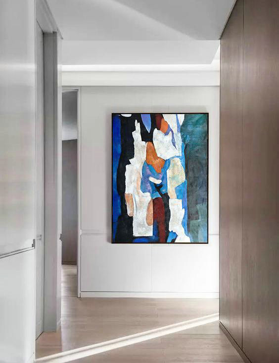 Colorful Wall Art,Hand Painted Large Vertical Contemporary Painting On Canvas,Hand Painted Aclylic Painting On Canvas,Blue,Black,White,Orange,Brown.etc