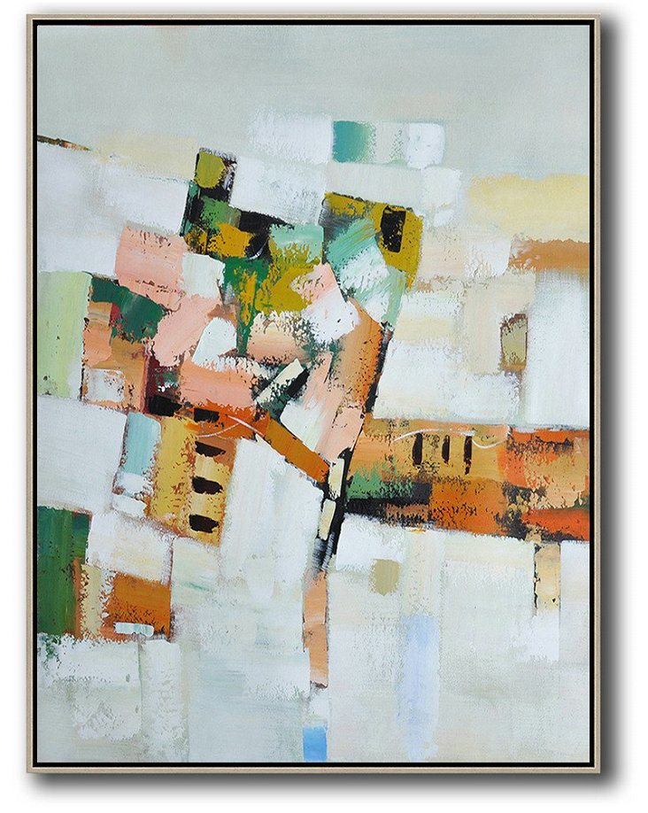 Abstract Oil Painting,Vertical Palette Knife Contemporary Art,Original Art Acrylic Painting,Grey,White,Yellow,Orange,Pink.etc