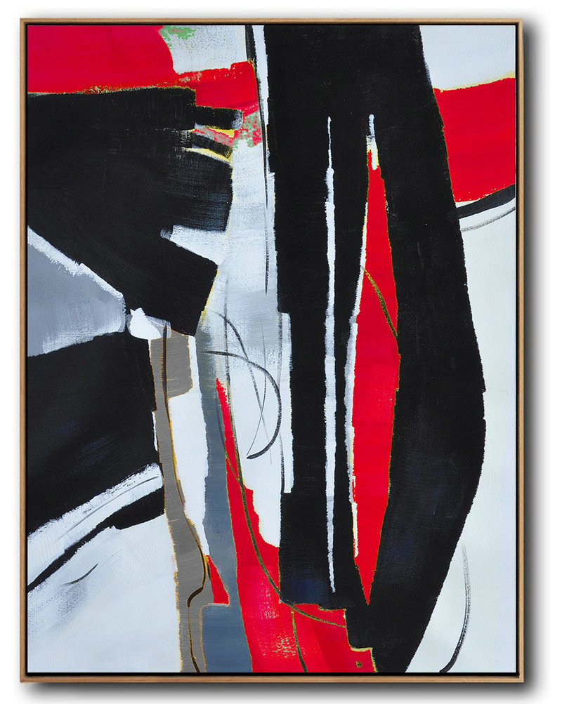 Pop Art Canvas,Hand Painted Large Vertical Red Contemporary Painting On Canvas,Large Canvas Art,Modern Art Abstract Painting,Black,White,Red,Grey,Pale Blue.etc