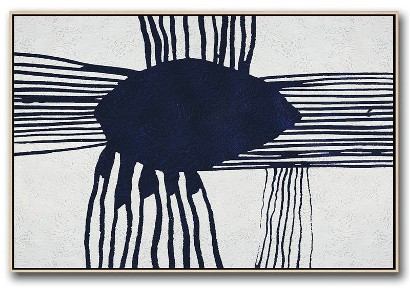 Huge Canvas Art On Canvas,Horizontal Abstract Painting Navy Blue Minimalist Painting On Canvas,Big Canvas Painting