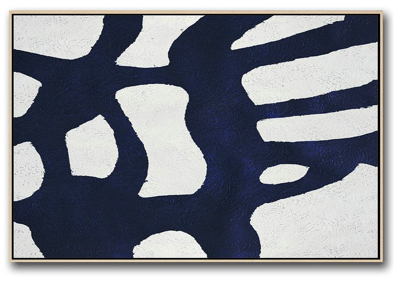 Huge Abstract Canvas Art,Horizontal Abstract Painting Navy Blue Minimalist Painting On Canvas,Acrylic Painting On Canvas