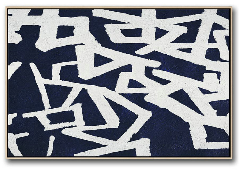 Acrylic Painting Canvas Art,Horizontal Abstract Painting Navy Blue Minimalist Painting On Canvas,Oversized Custom Canvas Art
