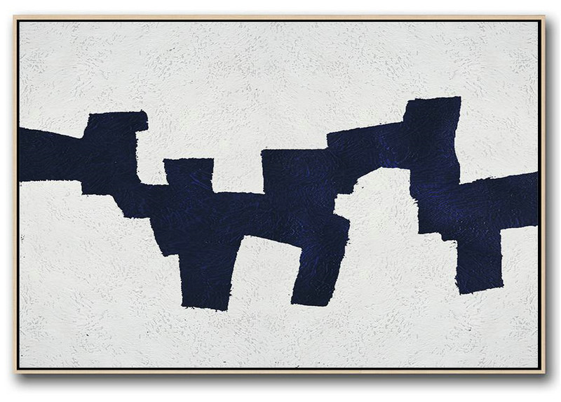 Hand Paint Abstract Painting,Horizontal Abstract Painting Navy Blue Minimalist Painting On Canvas,Large Paintings For Living Room