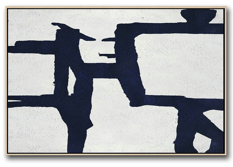 Abstract Art On Canvas, Modern Art,Horizontal Abstract Painting Navy Blue Minimalist Painting On Canvas,Large Contemporary Painting