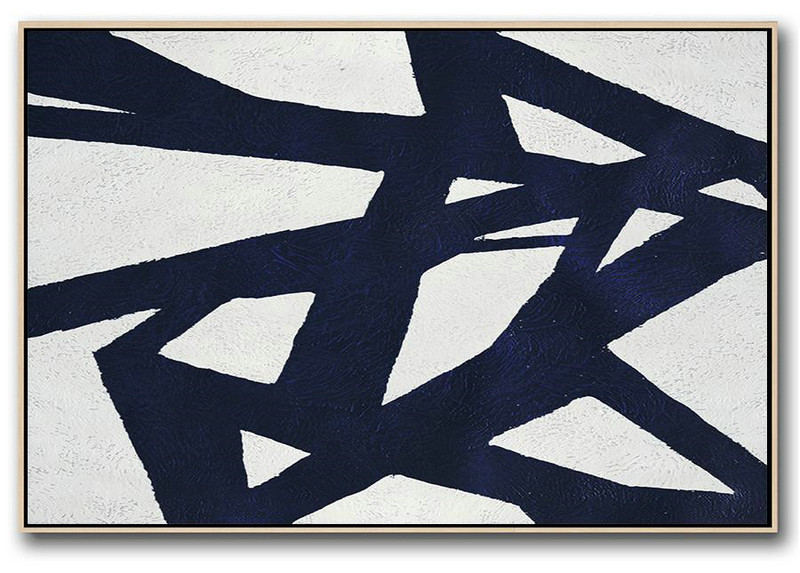 Large Abstract Art Handmade Acrylic Painting,Horizontal Abstract Painting Navy Blue Minimalist Painting On Canvas,Canvas Artwork For Sale