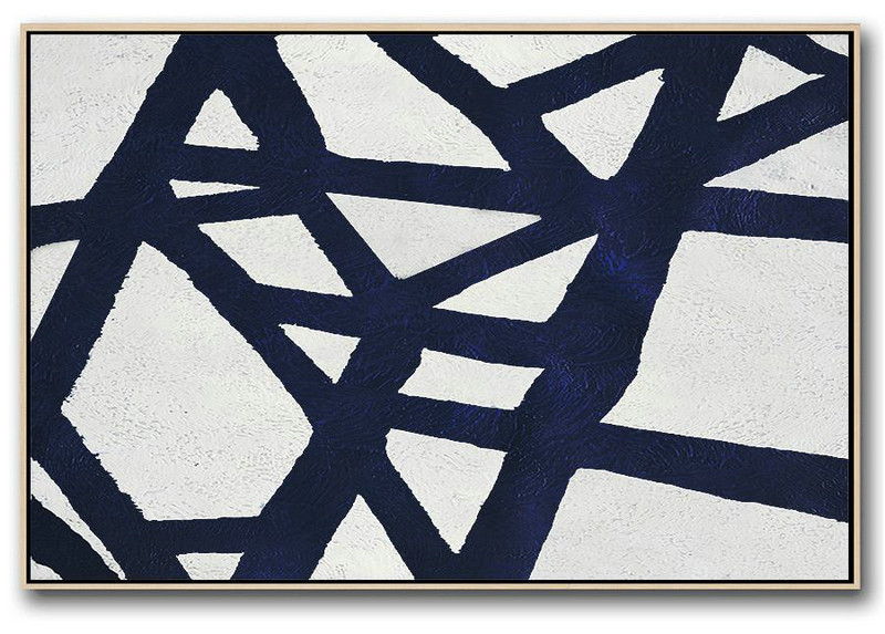 Abstract Painting Extra Large Canvas Art,Horizontal Abstract Painting Navy Blue Minimalist Painting On Canvas,Acrylic Painting On Canvas