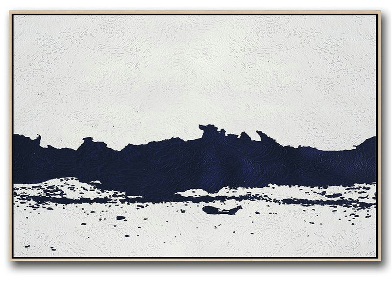 Modern Art Abstract Painting,Horizontal Abstract Painting Navy Blue Minimalist Painting On Canvas,Giant Canvas Wall Art