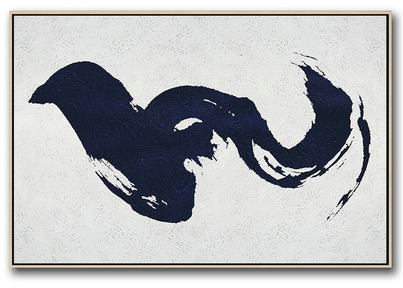 Big Canvas Painting,Horizontal Abstract Painting Navy Blue Minimalist Painting On Canvas,Modern Wall Decor