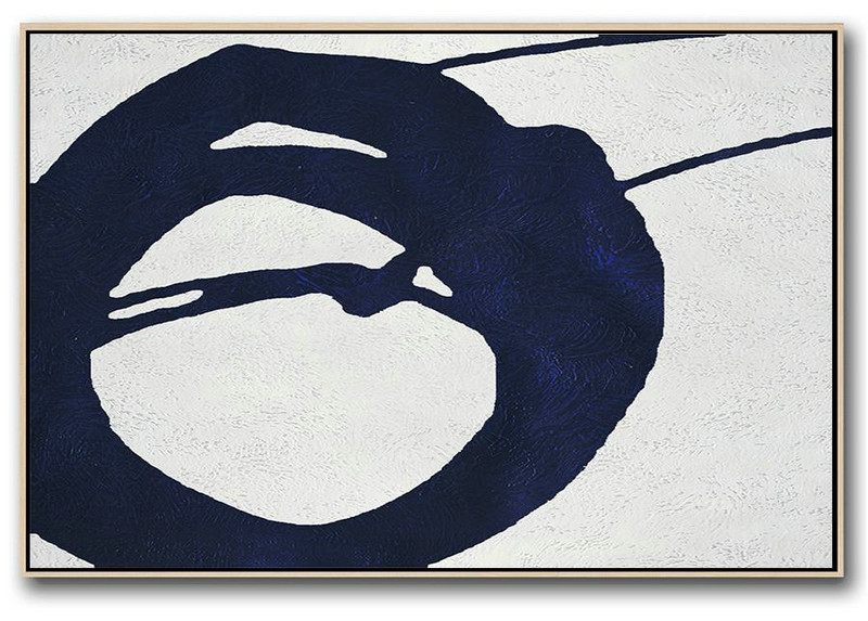 Modern Paintings On Canvas,Horizontal Abstract Painting Navy Blue Minimalist Painting On Canvas,Large Canvas Art