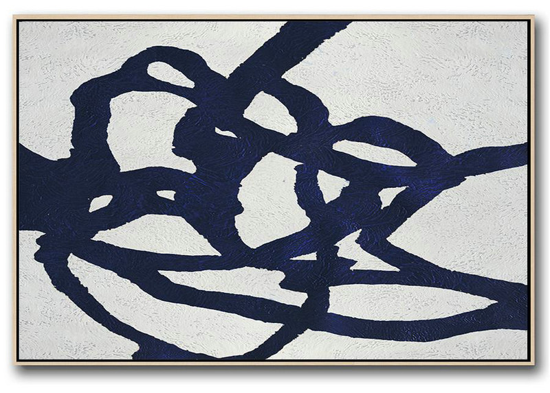 Big Art Canvas,Horizontal Abstract Painting Navy Blue Minimalist Painting On Canvas,Original Art Acrylic Painting