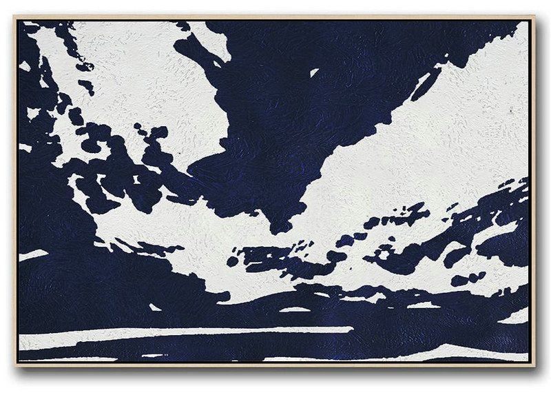 Large Wall Art Canvas,Horizontal Abstract Painting Navy Blue Minimalist Painting On Canvas,Oversized Art