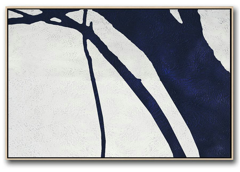 Modern Abstract Wall Art,Horizontal Abstract Painting Navy Blue Minimalist Painting On Canvas,Large Abstract Wall Art