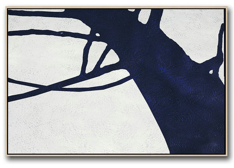 Extra Large Acrylic Painting On Canvas,Horizontal Abstract Painting Navy Blue Minimalist Painting On Canvas,Hand Painted Acrylic Painting