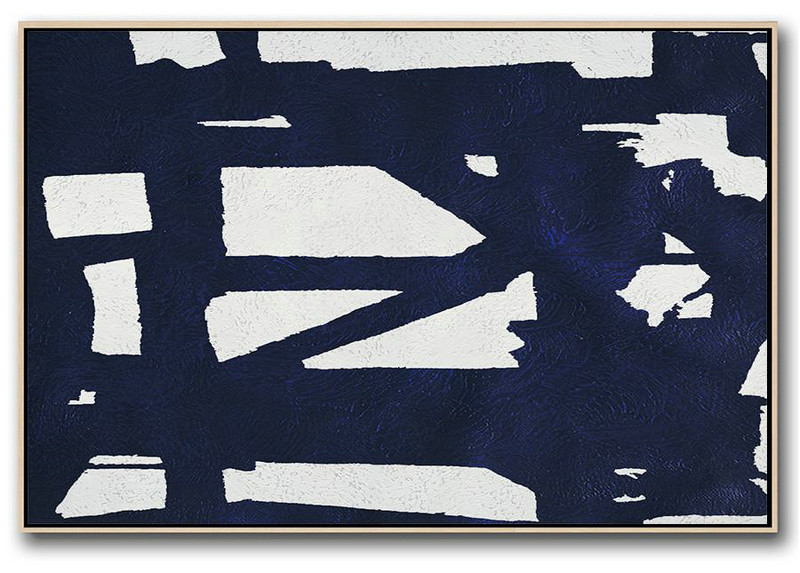 Canvas Wall Paintings,Horizontal Abstract Painting Navy Blue Minimalist Painting On Canvas,Modern Canvas Art