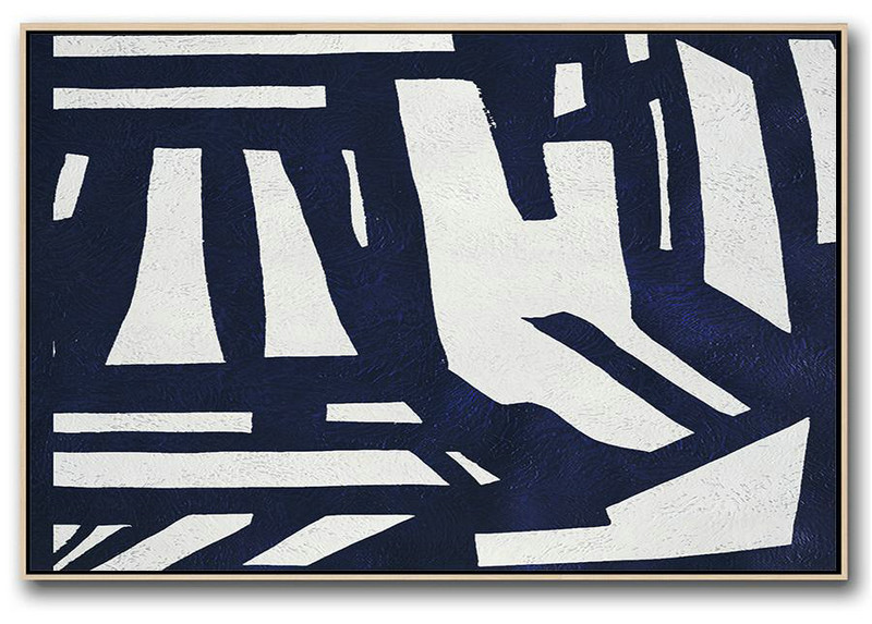 Contemporary Art Canvas Painting,Horizontal Abstract Painting Navy Blue Minimalist Painting On Canvas,Original Abstract Painting Canvas Art