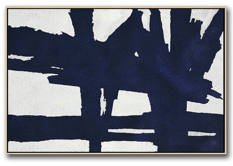 Artwork For Sale,Horizontal Abstract Painting Navy Blue Minimalist Painting On Canvas,Original Art Acrylic Painting