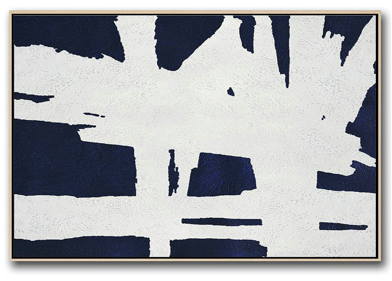 Abstract Oil Painting,Horizontal Abstract Painting Navy Blue Minimalist Painting On Canvas,Acrylic Painting On Canvas
