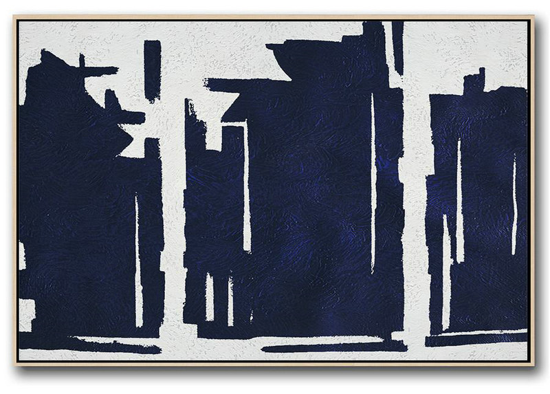 Canvas Wall Art,Horizontal Abstract Painting Navy Blue Minimalist Painting On Canvas,Acrylic Painting Large Wall Art