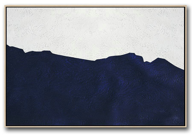 Art Work,Horizontal Abstract Painting Navy Blue Minimalist Painting On Canvas,Big Canvas Painting