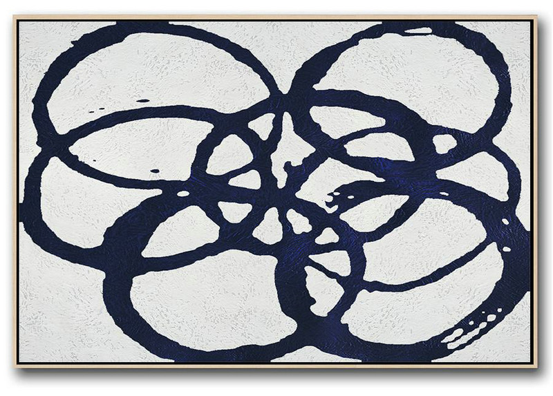 Original Artwork Extra Large Abstract Painting,Horizontal Navy Painting Abstract Minimalist Art On Canvas,Home Canvas Wall Art