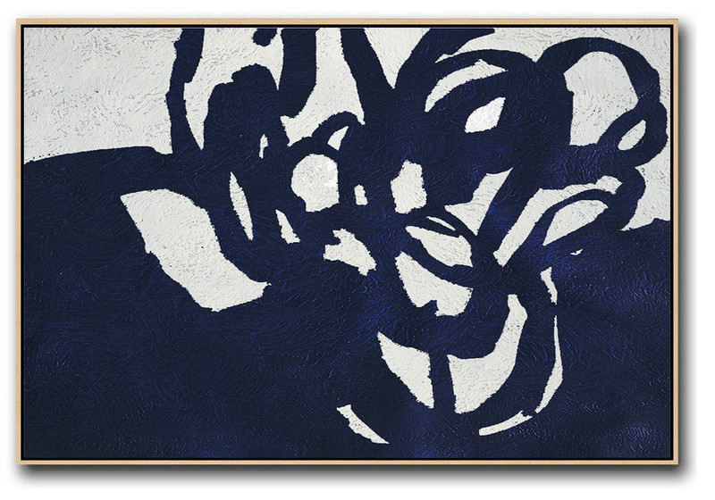 Abstract Painting Extra Large Canvas Art,Horizontal Navy Painting Abstract Minimalist Art On Canvas,Canvas Wall Paintings