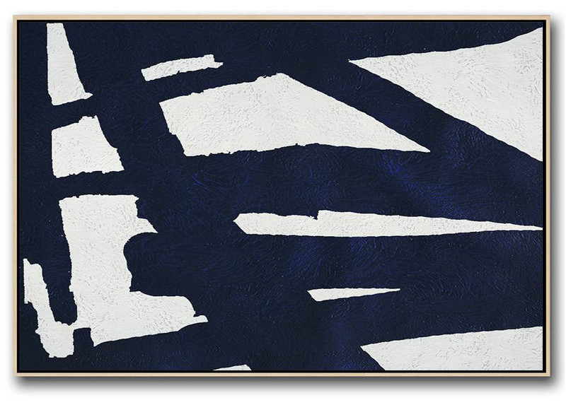 Huge Abstract Painting On Canvas,Horizontal Navy Painting Abstract Minimalist Art On Canvas,Pretty Abstract Paintings