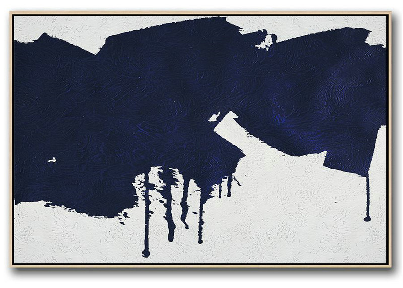 Big Living Room Decor,Horizontal Navy Painting Abstract Minimalist Art On Canvas,Huge Abstract Canvas Art