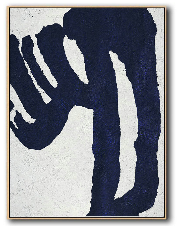 Extra Large Painting,Buy Hand Painted Navy Blue Abstract Painting Online,Large Oil Canvas Art
