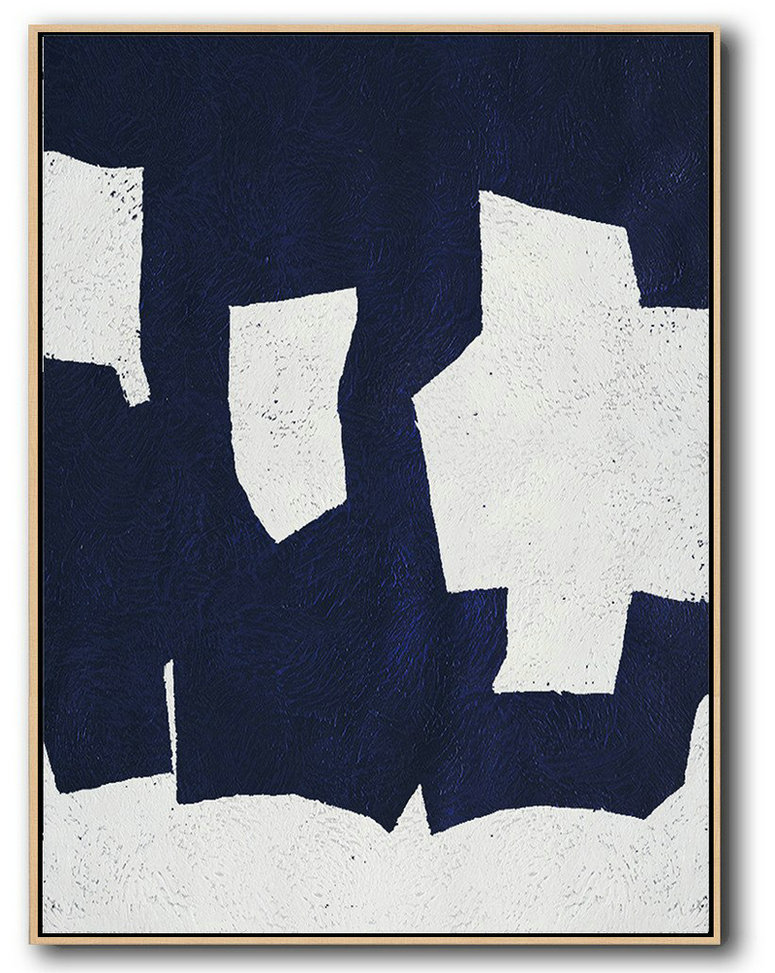 Abstract Painting Extra Large Canvas Art,Buy Hand Painted Navy Blue Abstract Painting Online,Large Canvas Wall Art For Sale