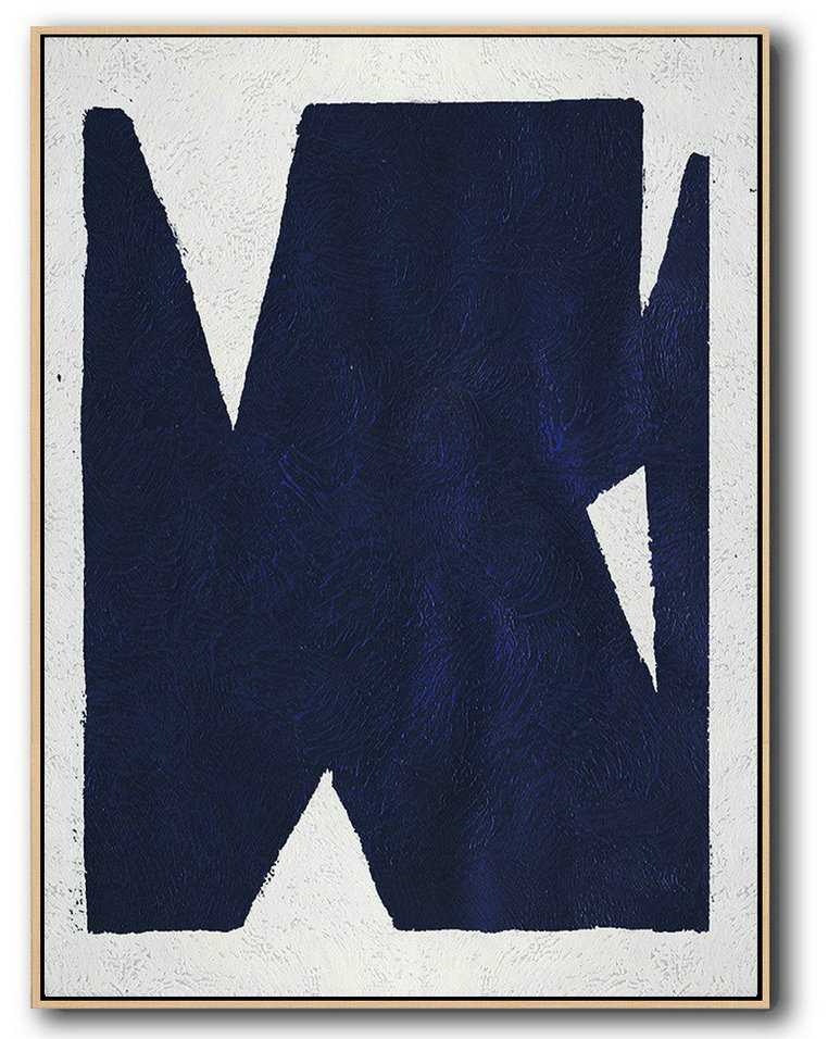 Handmade Large Contemporary Art,Buy Hand Painted Navy Blue Abstract Painting Online,Extra Large Artwork