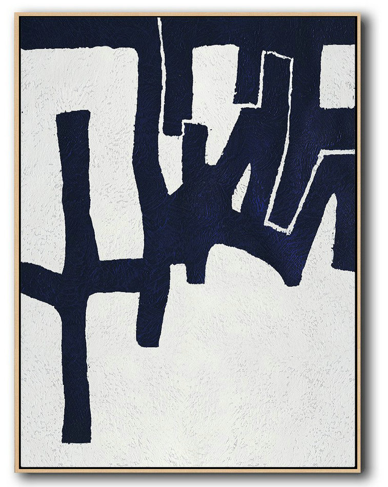 Large Abstract Art,Buy Hand Painted Navy Blue Abstract Painting Online,Large Paintings For Living Room