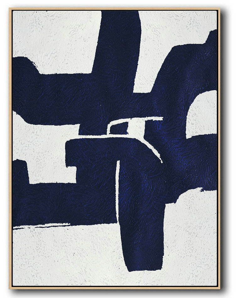 Extra Large Canvas Art,Buy Hand Painted Navy Blue Abstract Painting Online,Big Art Canvas