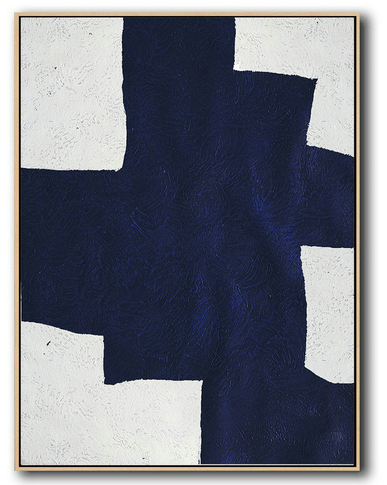 Artwork For Sale,Buy Hand Painted Navy Blue Abstract Painting Online,Original Art