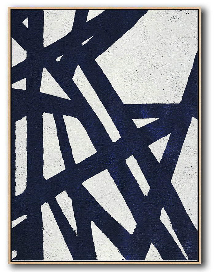 Canvas Paintings For Sale,Buy Hand Painted Navy Blue Abstract Painting Online,Art Work