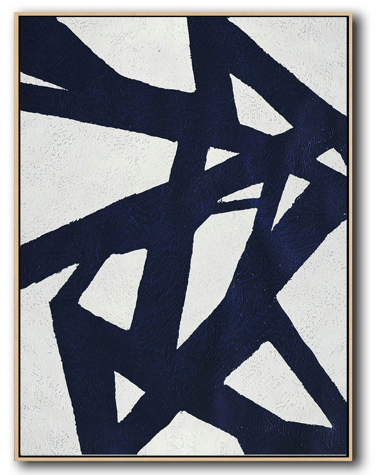 Extra Large Textured Painting On Canvas,Buy Hand Painted Navy Blue Abstract Painting Online,Hand Painted Original Art