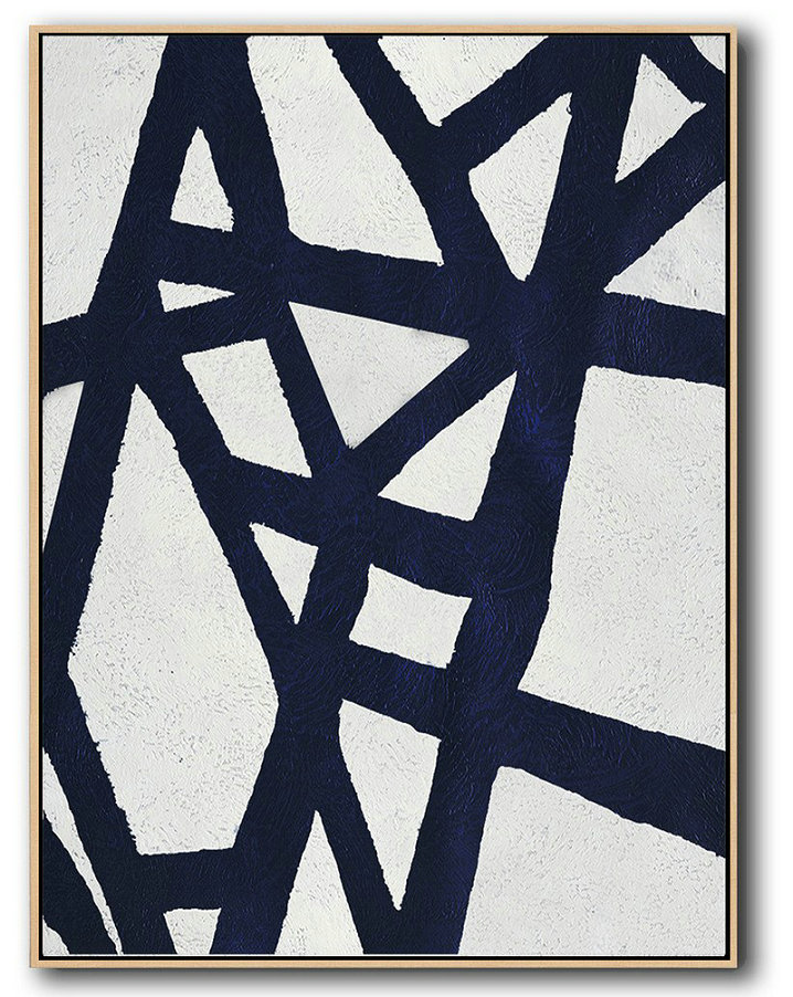 Oversized Canvas Art On Canvas,Buy Hand Painted Navy Blue Abstract Painting Online,Canvas Artwork For Sale