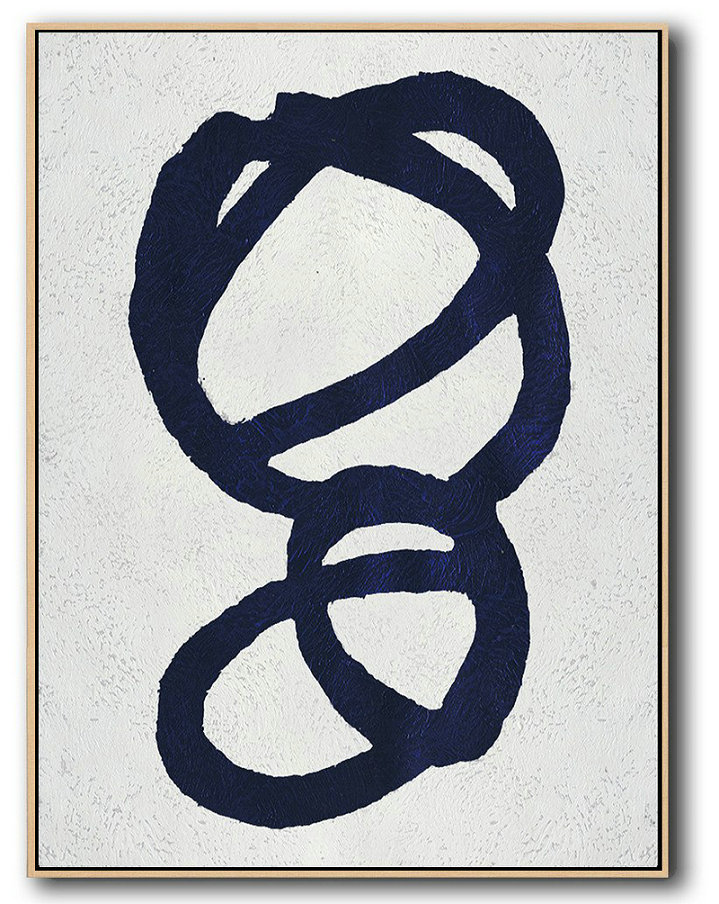 Extra Large Canvas Art,Buy Hand Painted Navy Blue Abstract Painting Online,Modern Paintings On Canvas