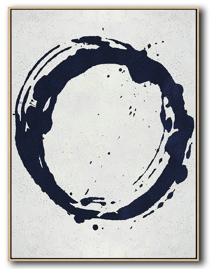 Large Abstract Art,Buy Hand Painted Navy Blue Abstract Painting Online,Modern Abstract Wall Art