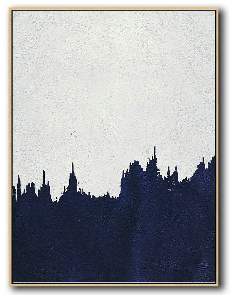 Original Extra Large Wall Art,Buy Hand Painted Navy Blue Abstract Painting Online,Giant Canvas Wall Art