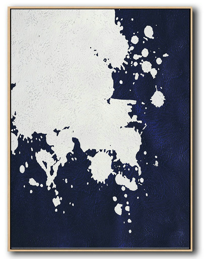 Handmade Painting Large Abstract Art,Buy Hand Painted Navy Blue Abstract Painting Online,Acrylic Painting Large Wall Art