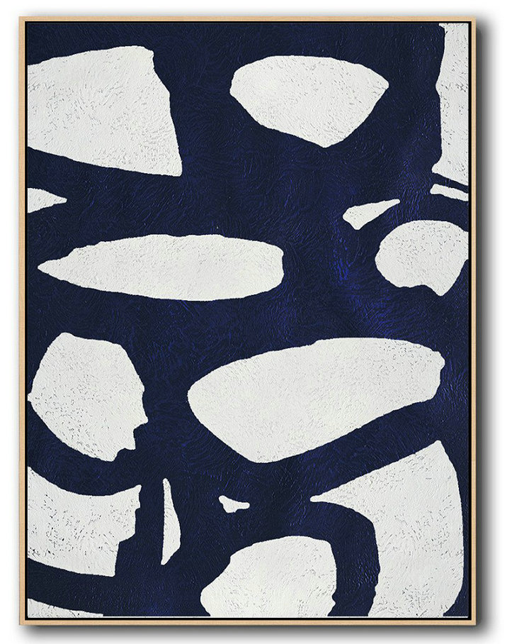 Extra Large Acrylic Painting On Canvas,Buy Hand Painted Navy Blue Abstract Painting Online,Contemporary Wall Art