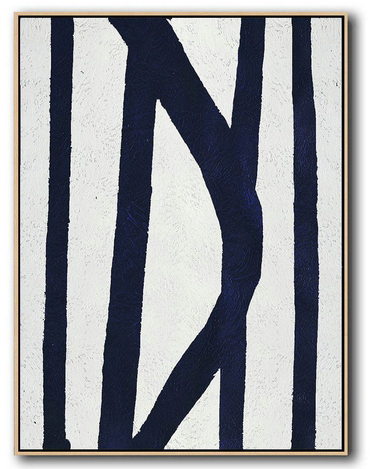 Large Abstract Art,Buy Hand Painted Navy Blue Abstract Painting Online,Modern Wall Art
