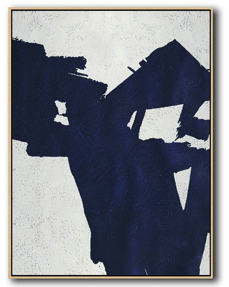 Extra Large Canvas Art,Buy Hand Painted Navy Blue Abstract Painting Online,Abstract Oil Painting
