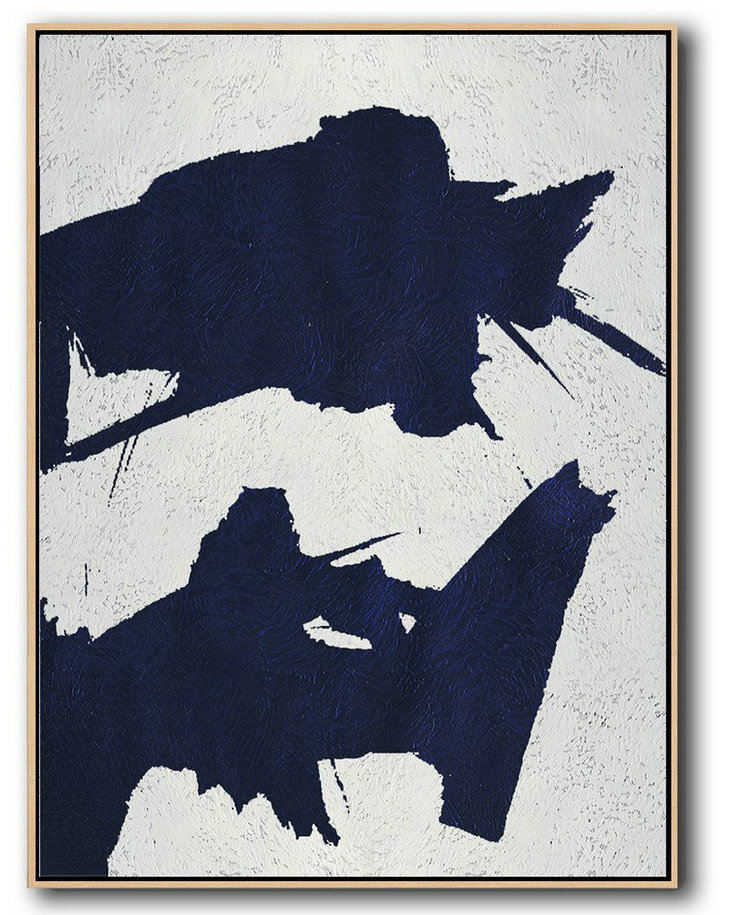 Extra Large Abstract Painting On Canvas,Buy Hand Painted Navy Blue Abstract Painting Online,Modern Paintings
