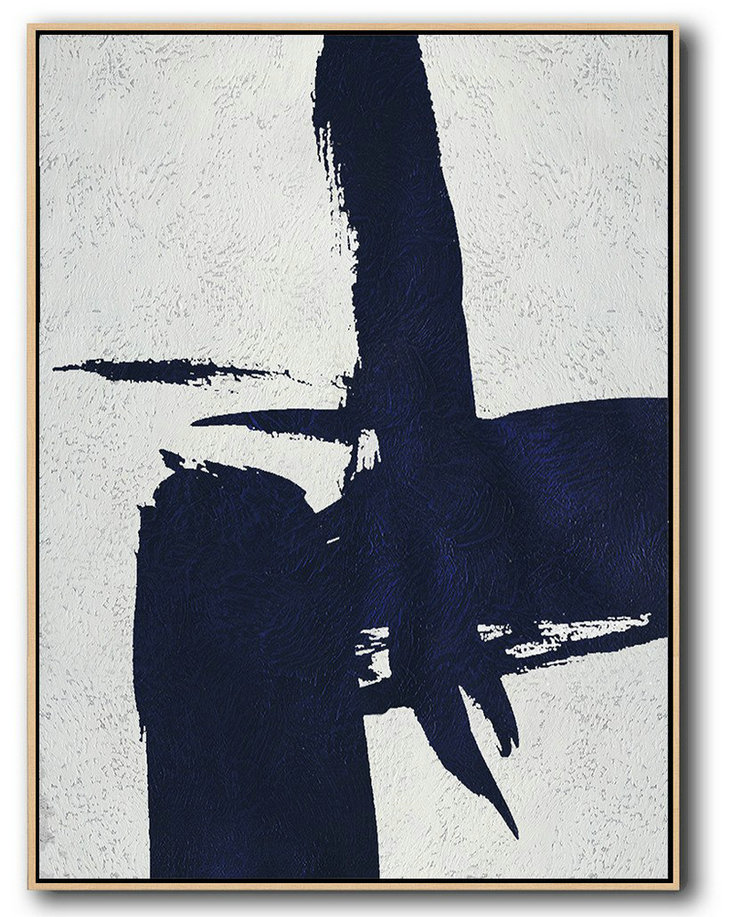 "Extra Large 72"" Acrylic Painting,Buy Hand Painted Navy Blue Abstract Painting Online,Canvas Wall Art"