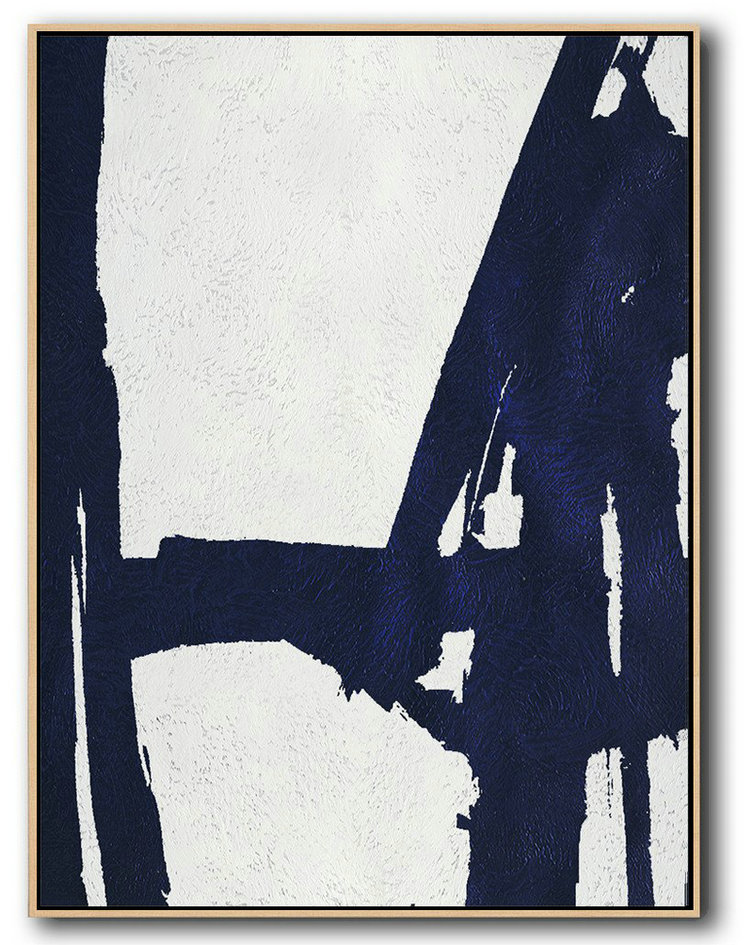 Handmade Large Painting,Buy Hand Painted Navy Blue Abstract Painting Online,Modern Art