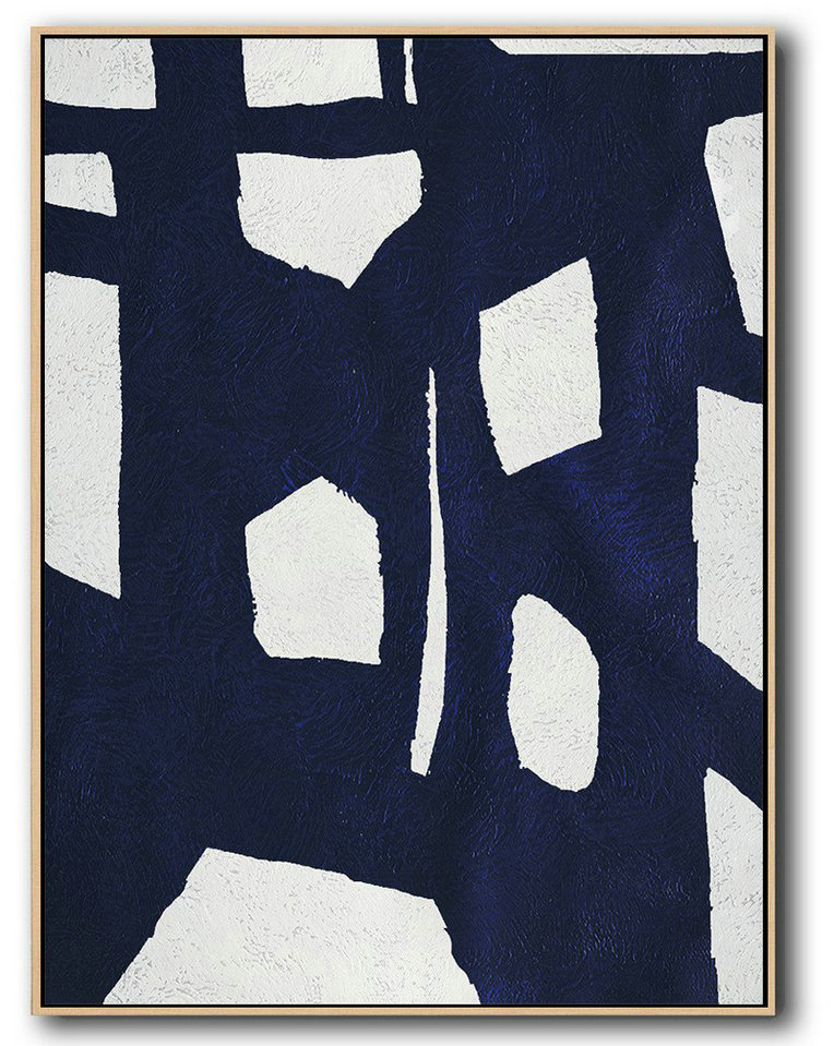 Large Abstract Painting,Buy Hand Painted Navy Blue Abstract Painting Online,Large Living Room Wall Decor